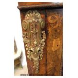 ANTIQUE Burl Wood Inlaid and Inlaid Flowers 3 Door Bookcase with Applied Bronzes  Auction Estimate
