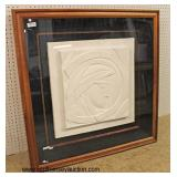 "Mid Century White Cast Vellum Sculpture ""Bella Donna"" in Frame signed ""Anthony Quinn"" with Certific"
