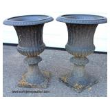 Large Selection of Cast Iron Garden Victorian Urn Planters and Aluminum Urn Planters  Auction Estim