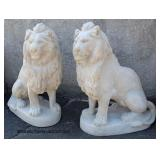 PAIR of Life Size Composition Stately Garden or Entryway Lions  Auction Estimate $500-$1000 – Locat