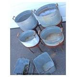 Large Selection of Galvanized Country Farm Style Wash Pails on Stands, Buckets, No. 1 Advertising W