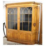 "Large ""Baker Furniture"" Burl Walnut 2 Door China with Bookcase Ends  Auction Estimate $400-$800 – L"