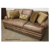 NEW Leather Like Upholstery Sofa with Decorative Pillows  Auction Estimate $300-$600 – Located Insi