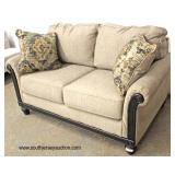 NEW Upholstered Loveseat with Decorative Pillows  Auction Estimate $200-$400 – Located Inside