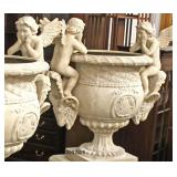 PAIR of Large 2 Piece Composition Planter Urns with Cherubs on Ram Heads   (Approximately 5' High)