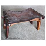 ANTIQUE Hand Tooled Leather Stool  Auction Estimate $50-$100 – Located Inside