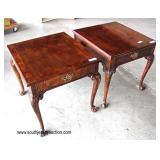 "PAIR of ""CTH Furniture"" Burl Mahogany Inlaid and Banded Carved Ball and Claw One Drawer Lamp Tables"
