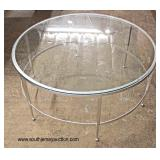 "NEW 40"" Round Glass Top Modern Design Metal Base Coffee Table  Auction Estimate $100-$200 – Located"
