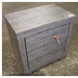 NEW Grey Washed Distressed 2 Drawer Night Stand  Auction Estimate $50-$100 – Located Inside