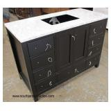 "NEW 48"" Marble Top Black Bathroom Vanity  Auction Estimate $200-$400 – Located Inside"