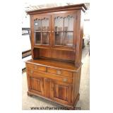 "SOLID Cherry ""Frederick Duckloe and Bros. Inc."" Hand Crafted 2 Piece Hutch  Auction Estimate $200-$"