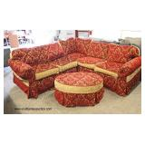 Decorator Upholstered Sectional with Round Ottoman  Auction Estimate $100-$300 – Located Inside