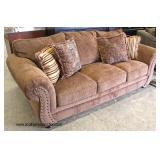 NEW Upholstered Sofa with Decorative Pillows  Auction Estimate $300-$600 – Located Inside