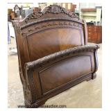 NEW Queen Size Burl Mahogany Carved Contemporary Sleigh Bed  Auction Estimate $200-$400 – Located I