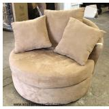 NEW Tan Upholstered Round Oversized Circular Lounge with Pillows  Auction Estimate $200-$400 – Loca