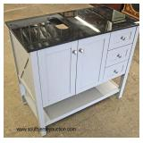 "NEW 36"" Marble Top 2 Door 3 Drawer Trestle Bowl Vanity  Auction Estimate $200-$400 – Located Inside"