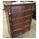 "NEW ""Ashley Furniture"" Mahogany Finish Contemporary Carved High Chest and Low Chest with Faux Marbl"