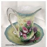 Hand Painted Pitcher with Under Plate  Auction Estimate $50-$100 – Located Inside