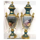 BEAUTIFUL PAIR of Antique Style Porcelain Urns in the manner of Serves  Auction Estimate $200-$400