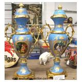 BEAUTIFUL PAIR of Porcelain and Bronze Wrap Hand Painted Urns in Manner of Serves  Auction Estimate