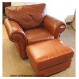 """Davani"" Original Italian Leather Chair and Ottoman  Auction Estimate $200-$400 – Located Inside"