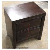 NEW 2 Drawer Mahogany Finish Night Stand with hardware inside the drawer   Auction Estimate $50-$100