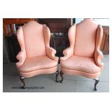 "PAIR of ""Henredon Furniture"" Queen Anne Wing Back Fireside Chairs   Auction Estimate $200-$400 – Loc"