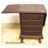 ANTIQUE SOLID Mahogany 4 Drawer Ball and Claw Drop Side Chest attribute to Feldenkreis Furniture   A