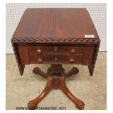 ANTIQUE Burl Mahogany Federal Style Drop Side 2 Drawer Stand   Auction Estimate $100-$300 – Located