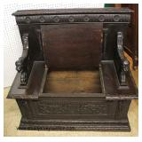 ANTIQUE Continental Oak Highly Carved Lift Top Hall Bench in the Original Finish   Auction Estimate