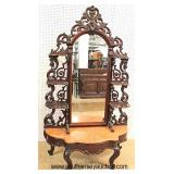 AWESOME ANTIQUE Walnut Victorian Marble Top Pier Mirror Pierce Carved and Ornate with One Drawer in