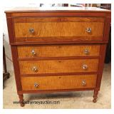 BEAUTIFUL ANTIQUE Tiger Maple and Cherry Sheraton Chest in the Original Finish   Auction Estimate $3