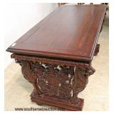SOLID Mahogany Highly Carved with Lion Heads Library Table   Auction Estimate $300-$600 – Located In