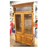 NICE Contemporary Oak Paw Foot Gun Cabinet with Lion Heads and Leaded Glass with Keys   Auction Esti