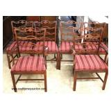 10 Piece Burl Mahogany Bubble Glass Dining Room Set with 6 Ribbon Back Chairs and 3 Leaves   Auction