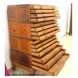 ANTIQUE 4 Section Panel Side Quartersawn Oak Map/File Chest Auction Estimate $1000-$2000 – Located