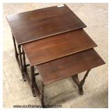 "Set of 3 ""Ethan Allen Furniture"" Mahogany Stack Tables  Auction Estimate $100-$300 – Located Inside"