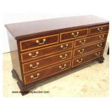 "Mahogany ""The Mahogany Collection by Thomasville Furniture"" Banded and Inlaid 9 Drawer Low Chest"