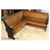 ANTIQUE Oak and Walnut Corner Deacons Bench  Auction Estimate $100-$400 – Located on the Dock