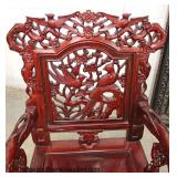 PAIR of SOLID Mahogany Highly Carved and Ornate Mahogany Asian Inspired Arm Chairs
