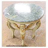 Marble Top Winged Figural Head Paw Foot Round Lamp Table