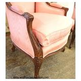PAIR of Mahogany Frame French Country Style Upholstered Chairs