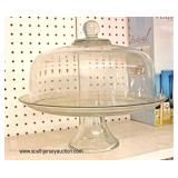 Just in Time for Holidays or Make it Freaky for Halloween  Clear Glass Elevated Cake Plate with Lid