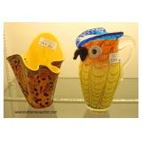 Selection of Art Glass including: Art Glass Owl Pitcher and Vase