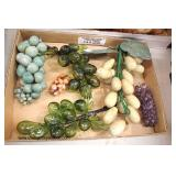 Box Lot of Glass and Marble Grapes