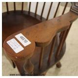 "ANTIQUE SOLID Mahogany Signed ""Wallace Nutting"" Windsor Desk Chair with Drawer"