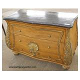 Burl Mahogany Marble Top Decorator 3 Drawer Shell Carved Chest