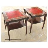 PAIR of Red Leather Top Mahogany 2 Tier Lamp Tables