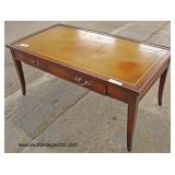 "Mahogany ""Imperial Furniture"" One Drawer Leather Top Coffee Table"