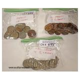 Selection of Coins including: Mexico, Large and Half Pennies, English Crowns and Half Crowns